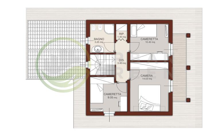 Casa in legno bipiano urb04 urban green for Progetto casa 40 mq
