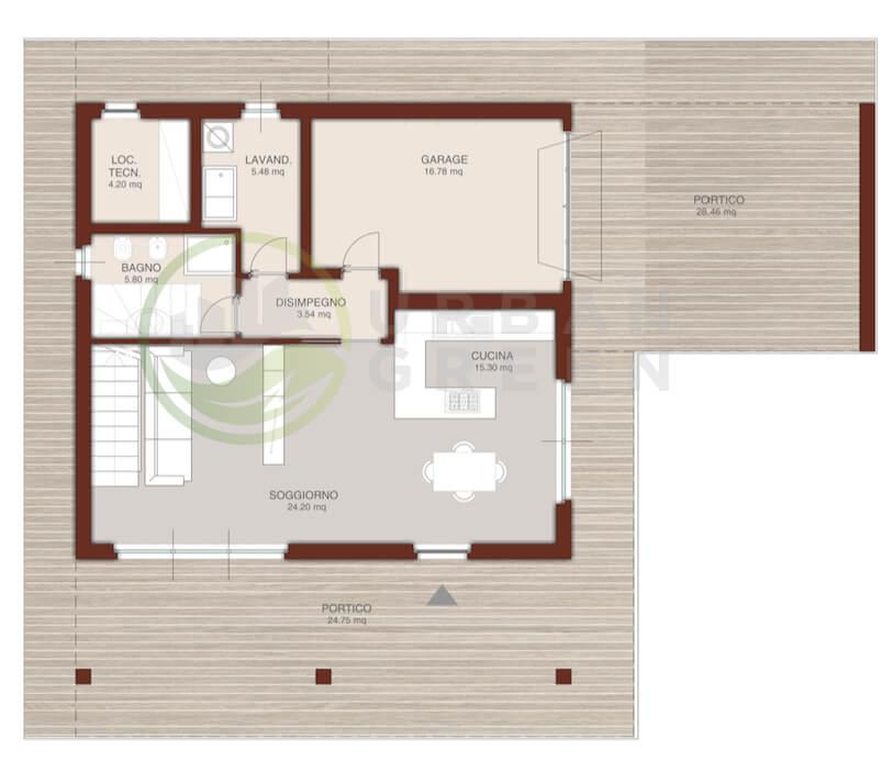 Casa in legno bipiano urb06 urban green for Case modulari con piani interrati