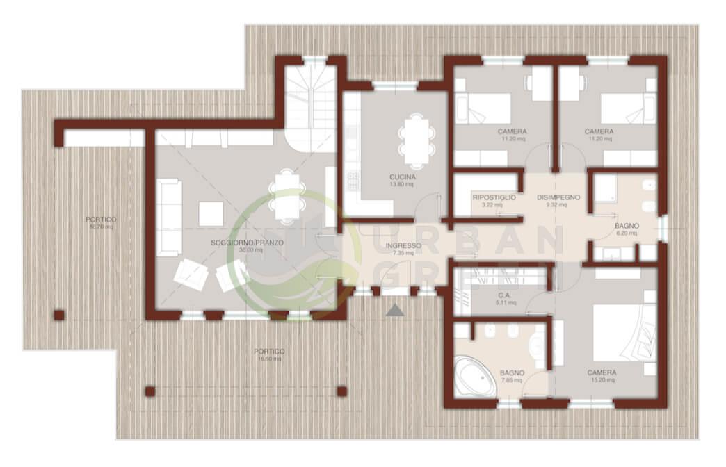 Casa in legno bipiano urb10 urban green for Piano casa piano terra
