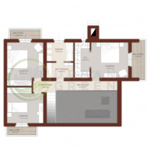casa in legno bipiano pianta piano primo