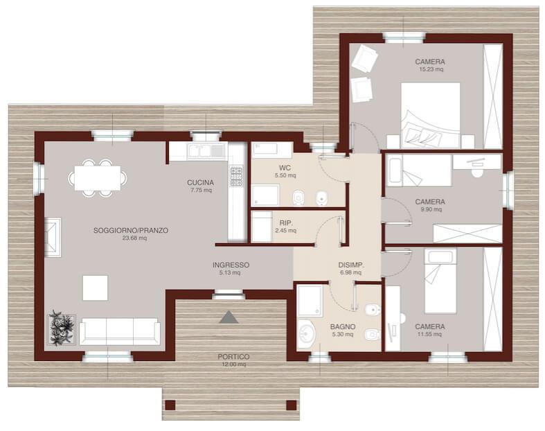 Casa in legno monopiano urb15 urban green for Progetto casa in legno