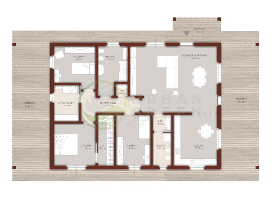 Progetto Capriata In Legno casa in legno monopiano urb17 - urban green