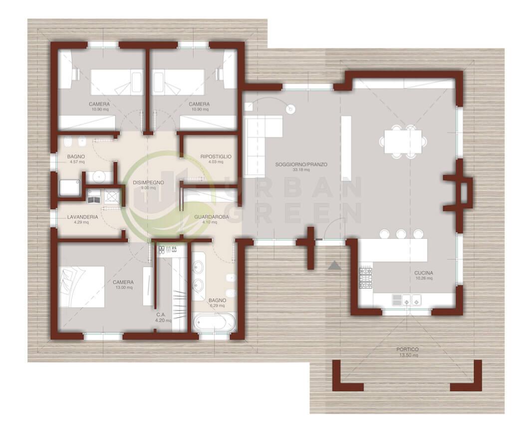 Affordable progetto casa in legno monopiano mq with for Progetti di piani casa fienile