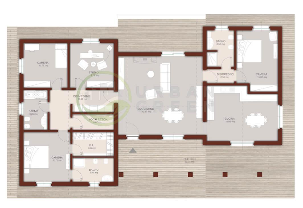 Camera Da Letto 7 Mq : Casa in legno monopiano urb urban green
