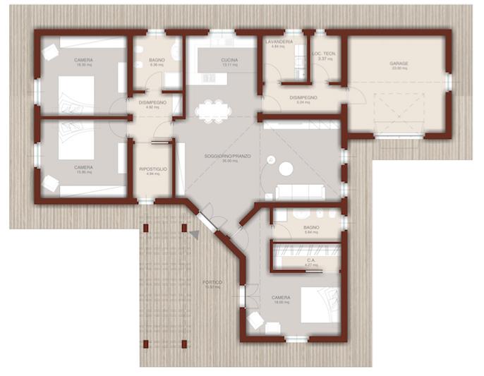 Elegant casa in legno monopiano with planimetrie casa for Una pianta della casa di legno
