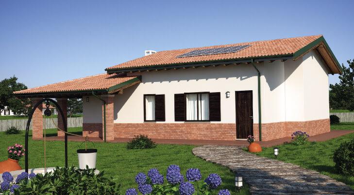 Casa in legno monopiano urb24 urban green for Casa moderna con tetto in legno