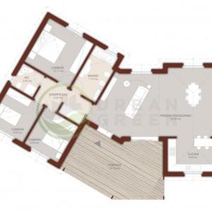 planimetria casa in legno monopiano 120 mq