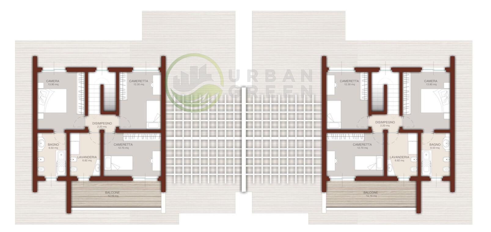 Casa in legno bifamiliare urb32 urban green for Planimetrie piano piano gratuito