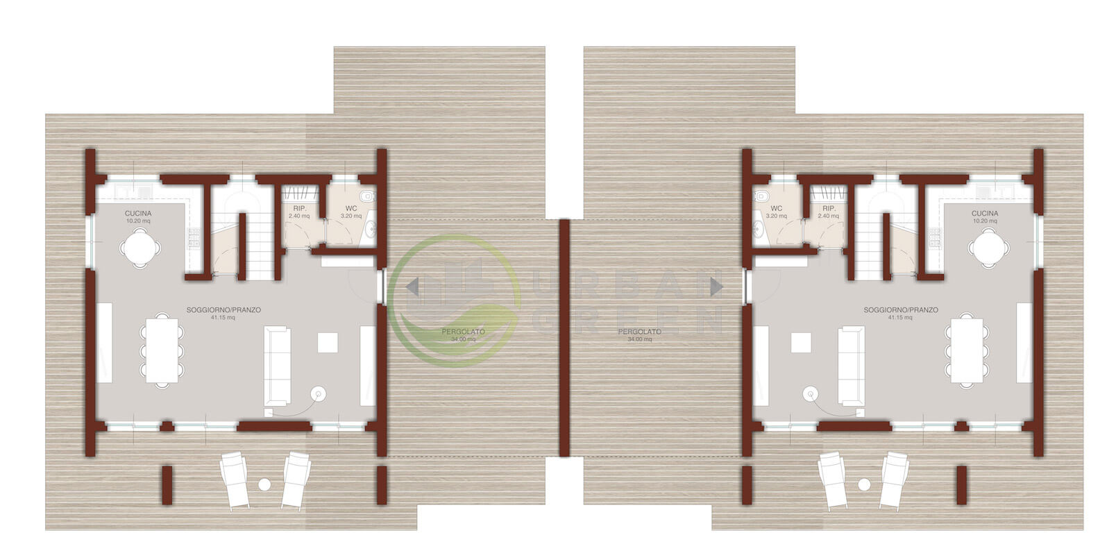 Casa in legno urb planimetria casa in legno bifamiliare for Planimetrie della casa minimalista