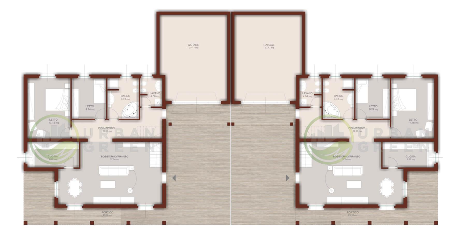 Casa in legno bifamiliare urb35 urban green for Progetto casa in legno