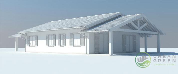 render 3D casa in legno
