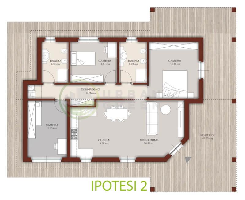 Pianta appartamento 100 mq for Casa in legno 100 mq